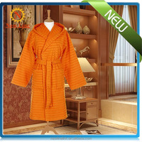 bath robe 100 cotton orange striped bathrobe