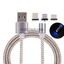 Hot 3 in 1 with Detachable Micro USB + Type-C Round Magnetic Adsorption Port Charging Data Cable for iOS Android Mobile Phone