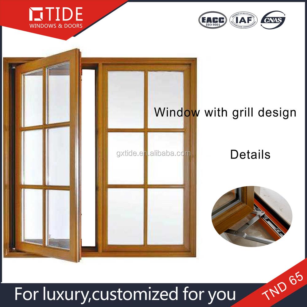 parrillas ventanas de diseo interior marco de madera fuera de aluminio con huecas de vidrio templado