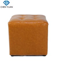 Antique Unique Design bedroom footstool bar furniture square yellow PU/genuine industrial Leather vintage bar Stool