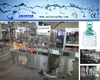 300BPH 5L linear rinsing filling capping machine