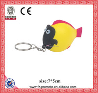 PU Foam Toy Tropical Fish Shape Promotional Stress Balls Keychain for Sale