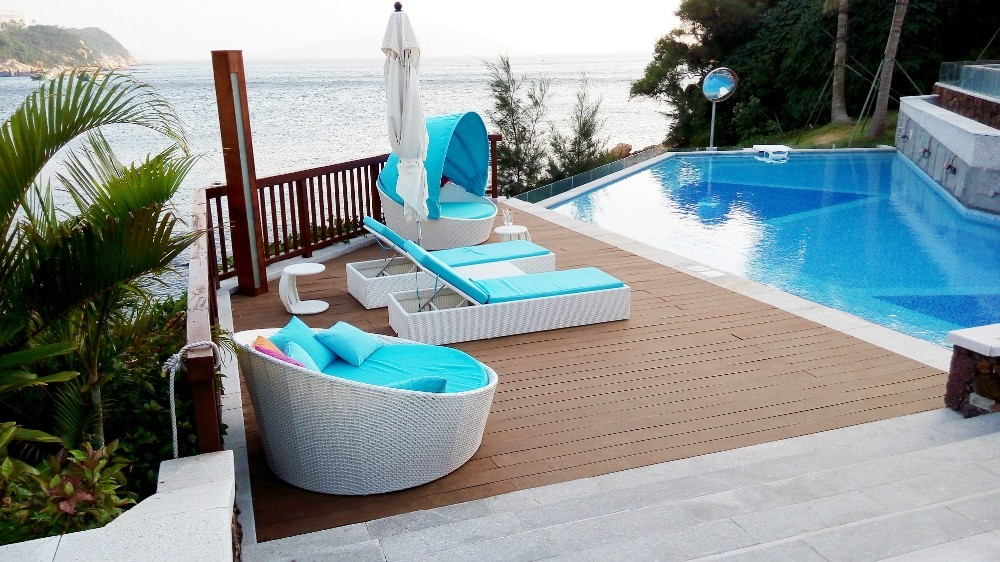 High quality outdoor rattan daybed used hotel pool for Outdoor pool daybeds