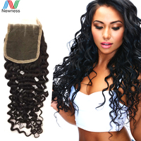 7A quality virgin brazilian hair free part body wave lace closure 4*4 natural color bleached knots fast free shipping by DHL