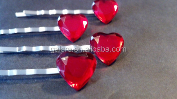 custom design love red heart stones hair bobby pins