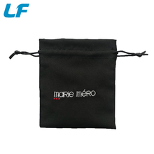 Promotion embroidered logo black Drawstring satin bag