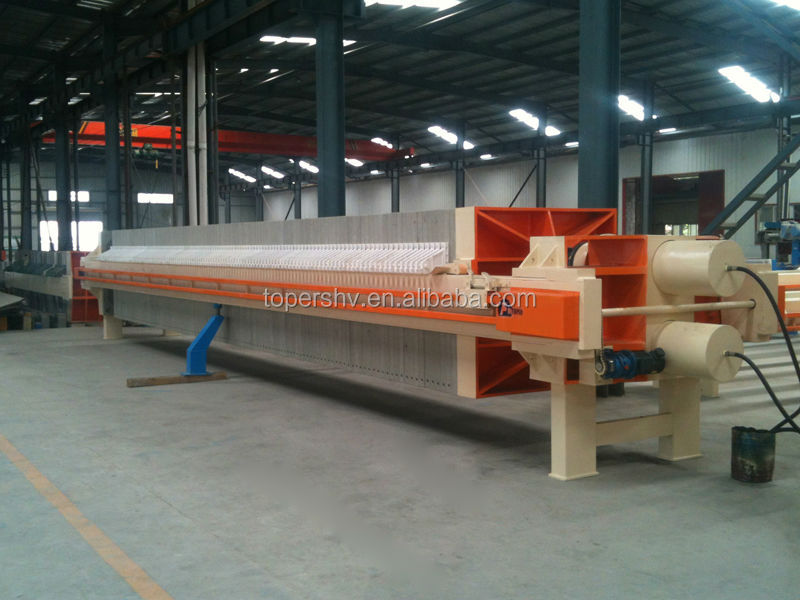 Membrane automatic filter press for chemical products dewatering