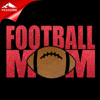 Low price iron on hotfix glitter football mom transfer