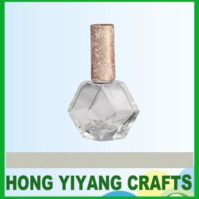 hexagon 12ml glass nail polish bottle with shinning cap