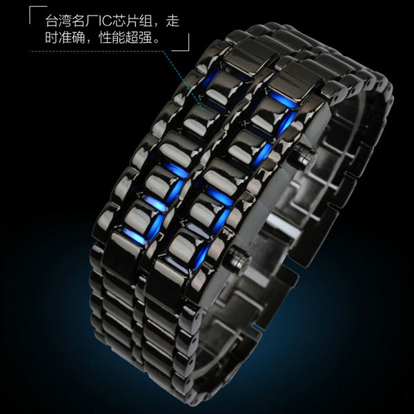 Luxury Iron Samurai Lava Style Blue Lights Stainless Steel Back LED Watch