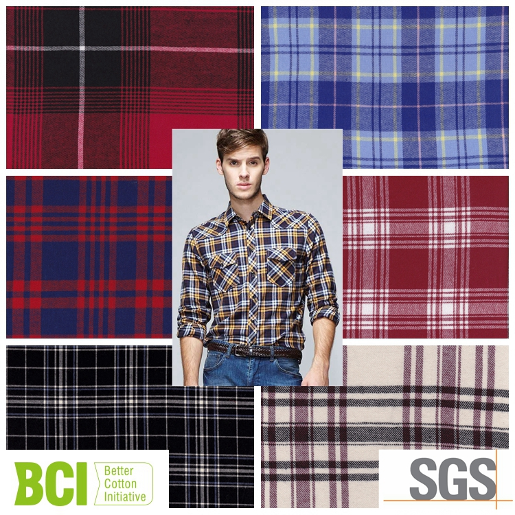 polyester cotton latest flannel fabrics for shirts and dress
