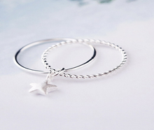 Braided Sterling Silver Rope Band Star Charm Rings