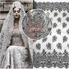 2017 luxury Grey french beaded embroidery lace fabric wholesale bridal fabrics for indian wedding dress HY0602