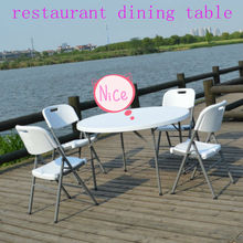 4FT outdoor white plastic folding tables balcony dining table and chair