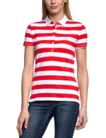White red stripe women's polo 100% simple polo t-shirt