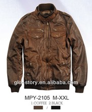 mens sleeves tan denim leather jacket