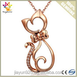 Good Quality 18K Rose Gold Pendant Necklace Fashion Cat Shape 925 Sterling Silver Pendant