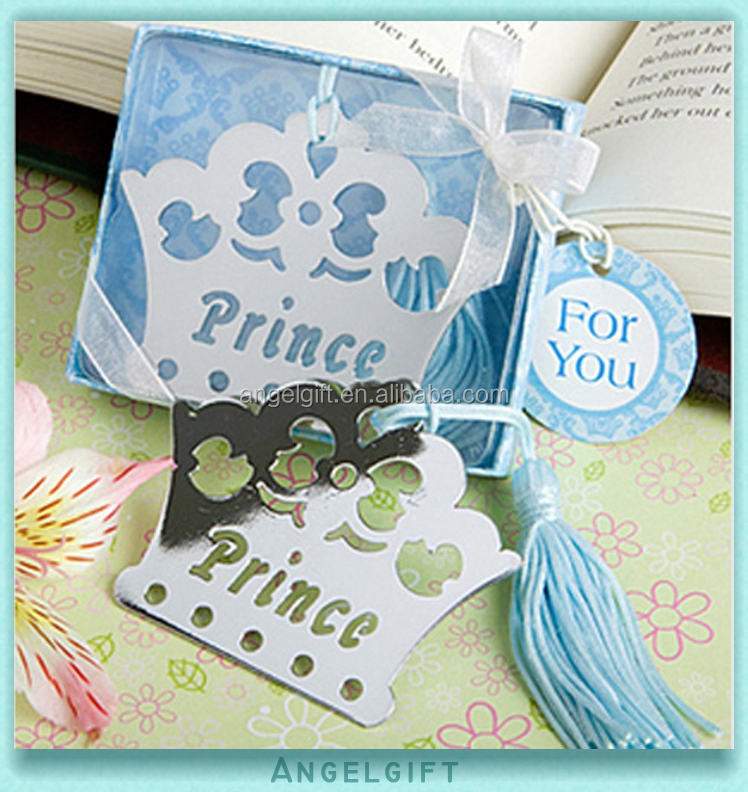 Wedding Return Christmas Baby Shower Gifts Prince Crown Metal Bookmark
