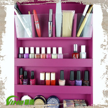 Custom MDF makeup display case , wood cosmetic portable wall mounted shelf ,acrylic lipstick holder nail polish rack wholesale