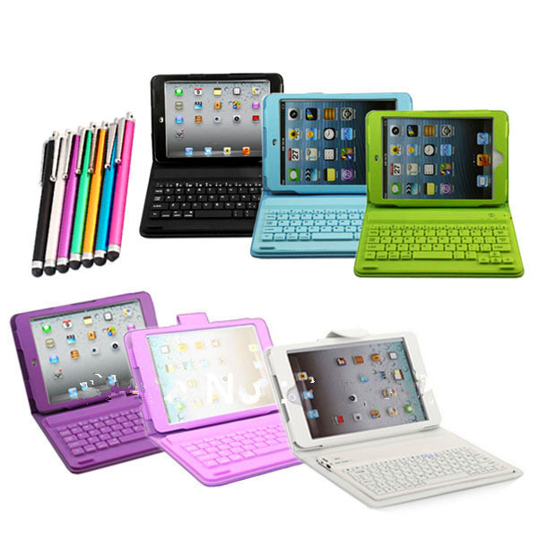 For Soft 3d Wireless Bluetooth Keyboard PU Leather Stand Case Cover For Ipad Mini&Free Stylus Pen