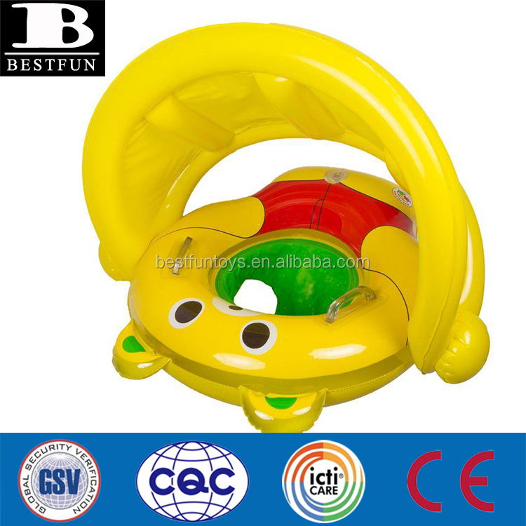 high quality PVC inflatable baby bear rider with canopy durable vinyl blow up todler swimming seat pool float with 2 handles