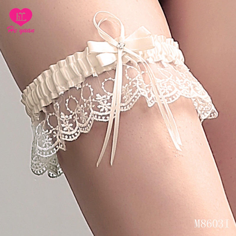 wedding garter set,chiffon flower bridal lace garter white garter