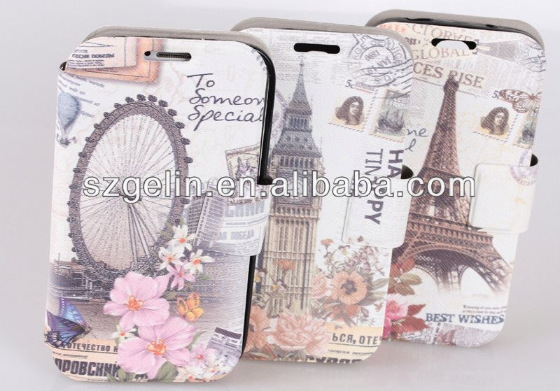 British style leather case cover for samsung galaxy s4