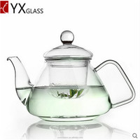 Glass tea pot with glass lid/fire resistant glass teapot flower booming tea kettle/borosilicate hand blow glass teapot glassware