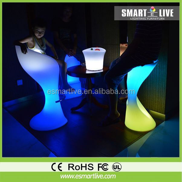 modern luminous acrylic led furniture multicolor changing battery operative rechargeable led bar stool