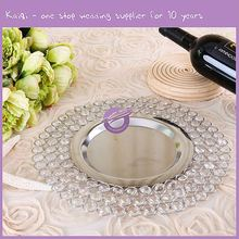 PZ00260 Rhinestones Crystal Bead Dinnerware Set Copper Metal Silver Wedding Anniversary Event Decor Dinner Charger Plates