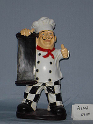 active Restaurant Decoration polyresin Chef,cute Chef With Board, polyresin Figurine,new Polyresin Chef