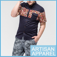 Plus Large Men's Casual Shirt Wholesale 2015 Latest design printing Cotton short Sleeve Casual Shirt for Man & OEM Service