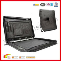 Novelty Agenda Black Briefcase Real Leather Portfolio /Organizer In Card Design For Promotion Gift 2013