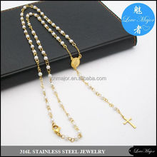 pearl bead gold plated stainless steel rosary necklace of fashion jewelry MJCX-195