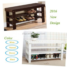 Wooden indoor shoe rack storage bench with seat