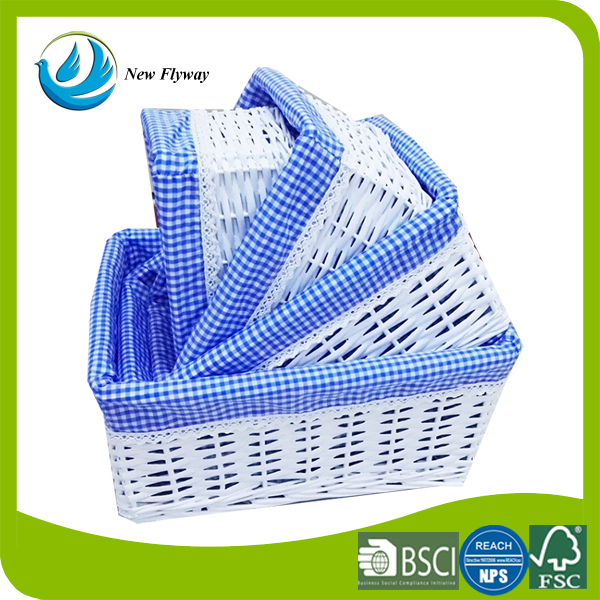 Multi-color fabric liner natural weaving multifunction willow basket