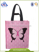 Pictures fashion printing laminated and reusable pp non woven shopping and packaging customized shoulder tote style bag