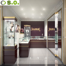 Customized High End Modern Style Jewelery Retail Display Case With LED Light