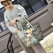 modern fashion photo printing cartoon sweet female handbag