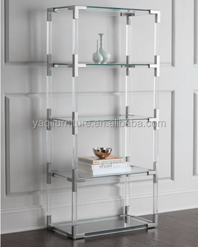Modern Acrylic Corner Bookshelf Storage Shelf Stainless Steel Part Metal Cabinet