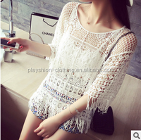 bohemian woman blouse woman fashion lace crochet tops ladies blouse