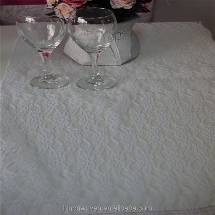White Lace Table Runner with side sewn for wedding