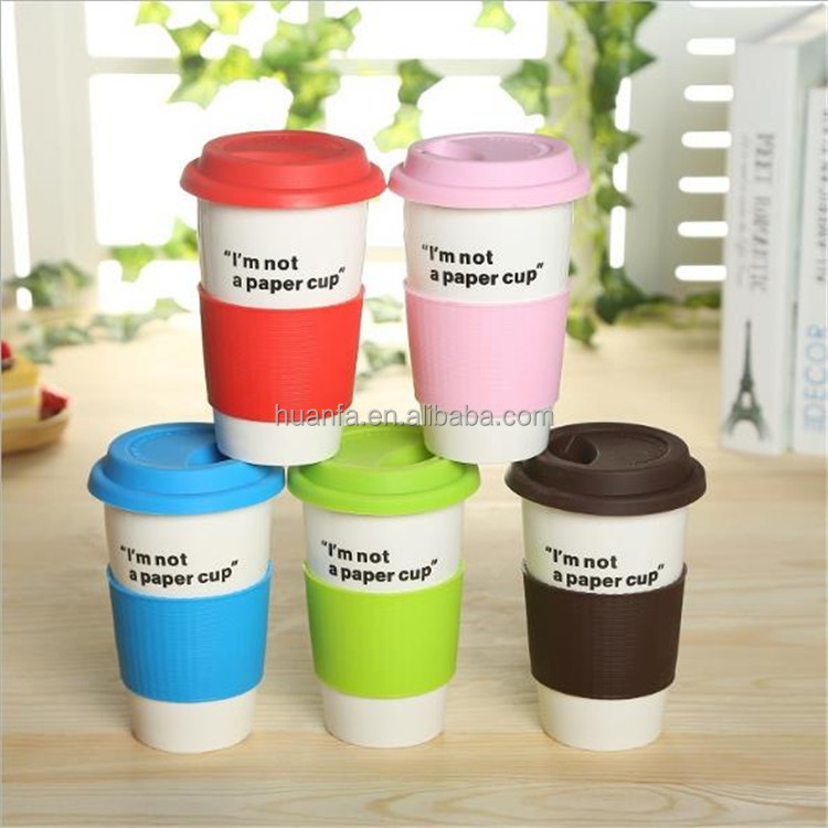 LOGO Customized Double wall Insulated Ceramic travel Mug with Colourful Silicone Lid And Silicone Sleeve for Coffee Milk Drink