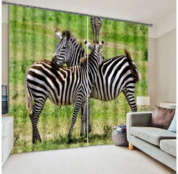 Wholesale Polyester Silk Fabric Simple Animal Design 3D Printed Blackout Shading Window Curtain