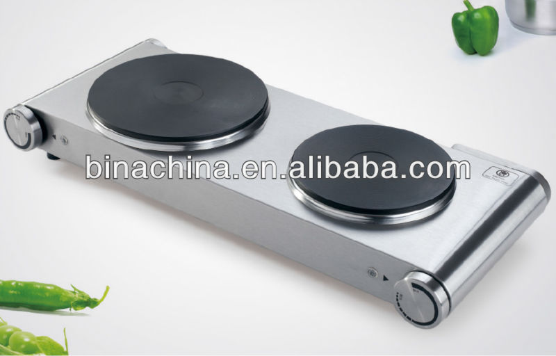 Cheap Wholesale 2 Burner Stainless Steel Housing Double Electric Hot Plate Stove