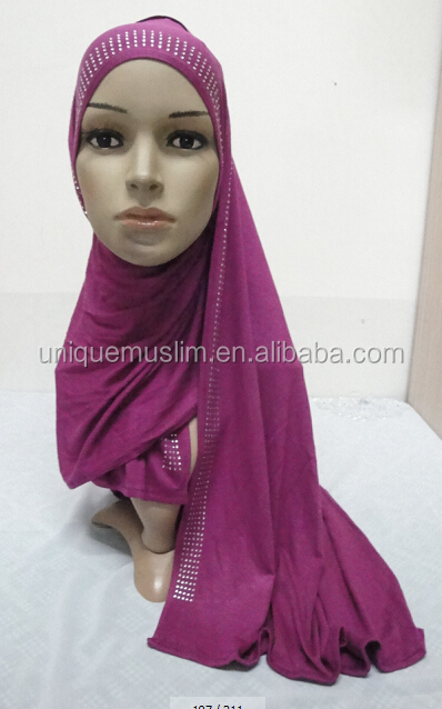 JL072 latest cotton jersey scarf with rhinestones
