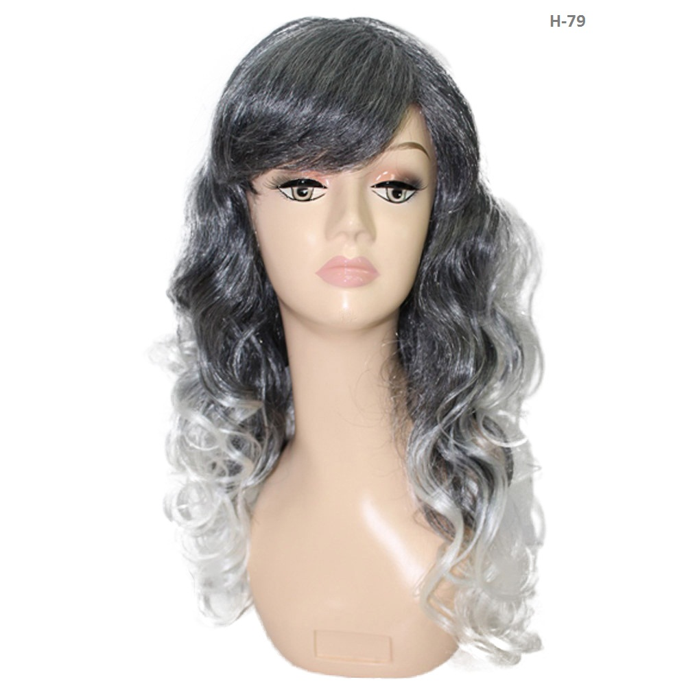 Ombre Long Silvery Grey Wig