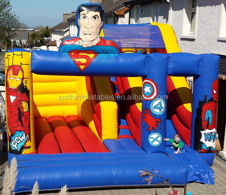20ft superhero jumping bouncy castle slide inflatable for sale