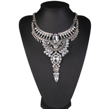 New Style Luxury Gold/Silver Crystal Necklace &Water Drop Pendants Maxi Necklace Fine Jewelry Vintage Collars For Women