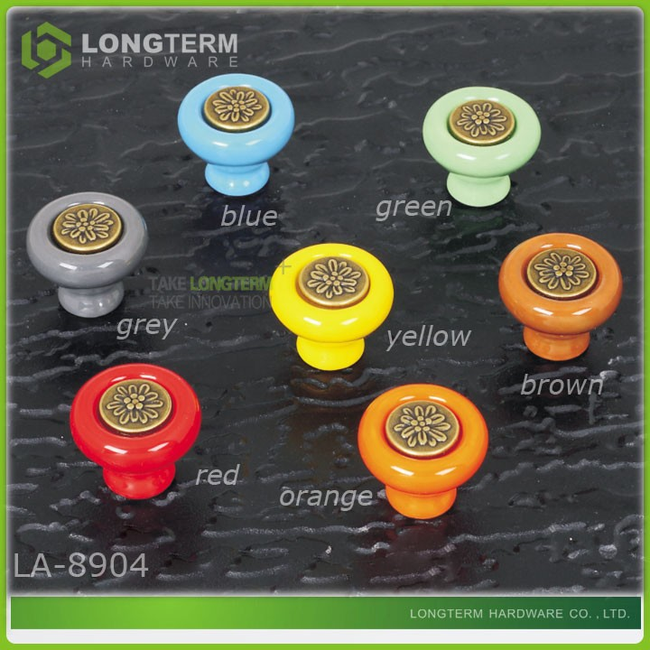 Colorful green ceramic knobs for cabinet kitchen